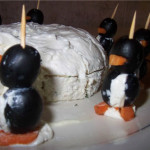 Cheeseball igloo and olive penguins