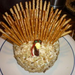 The wattle waddles…er, wobbles – Thanksgiving turkey cheeseball