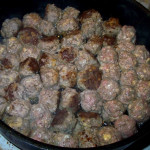 Wordless Wednesday – How to overcrowd a pan with meatballs