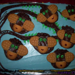 7 little monkeys, hanging on a cake