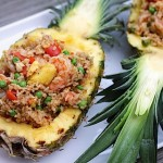 Shrimp fried rice pineapple boats