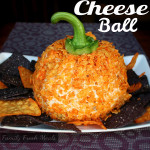 Halloween pumpkin cheeseball with Doritos