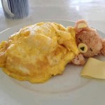 Rice teddy bear sleeping under an omelet blanket