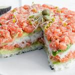 Layered sushi cake