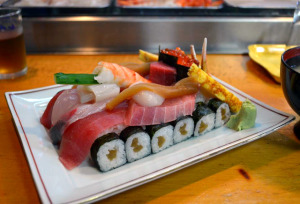 Japanese sushi creation that looks like a panzer tank from Gurls und Panzer anime cartoon