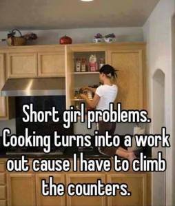 Short girl problems - Cooking turns into a workout because I have to climb on the counters.