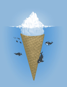 Killer whale orcas swimming around the bottom of an iceburg that's really an underwater ice cream cone instead.